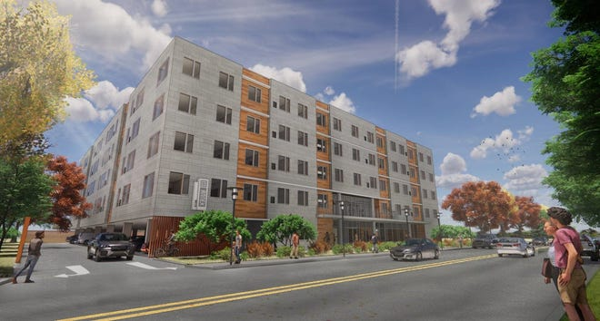 Rendering of The Annex of Memphis, a new student housing apartment building planned near the University of Memphis.