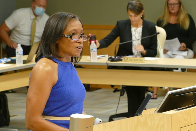Michelle Arnold, director of the Collier County's Public Transit and Neighborhood Enhancement division, speaks during a Marco Island City Council meeting on Aug. 17, 2020.