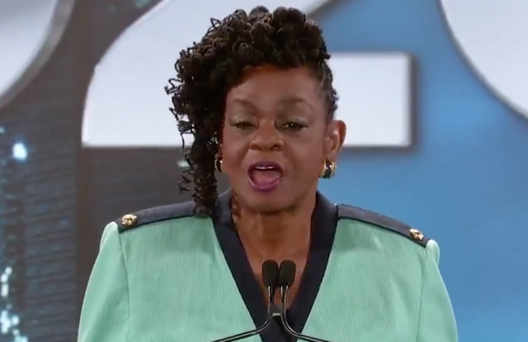 U.S. Rep Gwen Moore speaks from Milwaukee during the opening of the Democratic National Convention on Monday, Aug. 17, 2020.