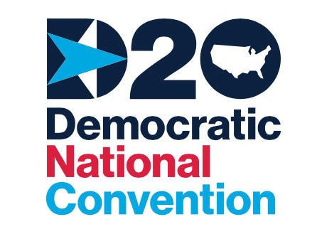 A map of the U.S. replaced a map of Wisconsin in a logo used for the 2020 Democratic National Convention headquartered in Milwaukee.