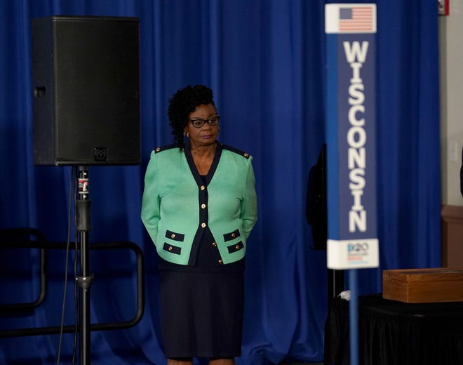 U.S. Rep. Gwen Moore (D-Wis.) waits to speak backstage at the start of the Democratic National Convention at the Wisconsin Center on Monday.