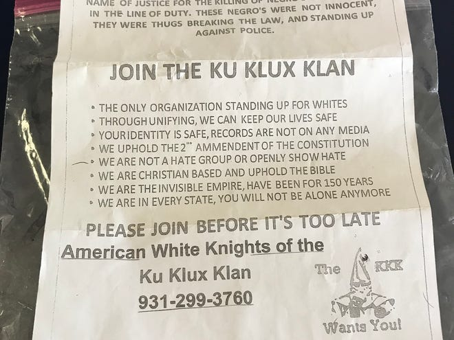 This recruitment letter for the Ku Klux Klan was left outside the Baxter Bulletin's main entrance.