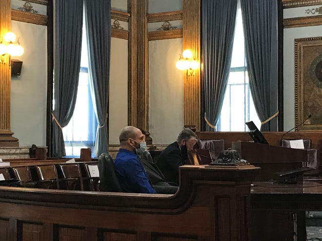 Alfredo Coyra appears with his attorney, Eric Brehm, in Licking County Common Pleas Court on Tuesday, Aug. 18, 2020 for a change of plea and sentencing hearing.