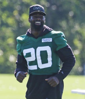 Safety and punt returner Marcus Maye walked through plays at the New York Jets training camp at the Atlantic Health Training Center in Florham Park, N.J., on Aug. 18, 2020.