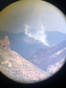 Some is visible Aug. 14, 2020 from the Windy Fire, burning in the Gila National Forest in the Whitewater-Baldy Fire burn scar.