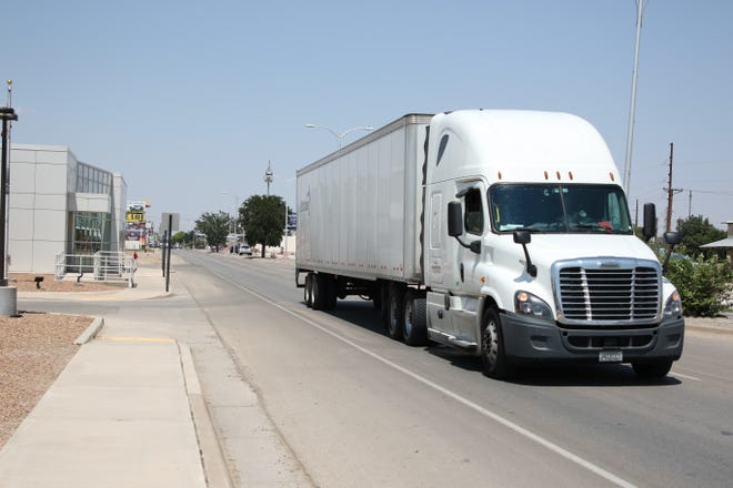 A semi-truck travels south on United States Highway 285 on Aug. 18, 2020 in Artesia. The Eddy County Public Works Department is set to place new welcome signs along the major highways traveling through Eddy County later this year.