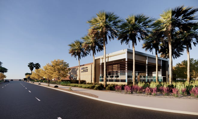 A rendering of the new county health clinic slated to open in 2021 at  E. Tahquitz Canyon Way and N. Sunrise Way in Palm Springs
