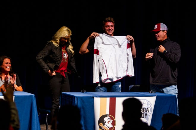 Perry quarterback Chubba Purdy announces his decision to play football at Florida State University on Wednesday, Dec. 18, 2019 at Perry High School in Gilbert.