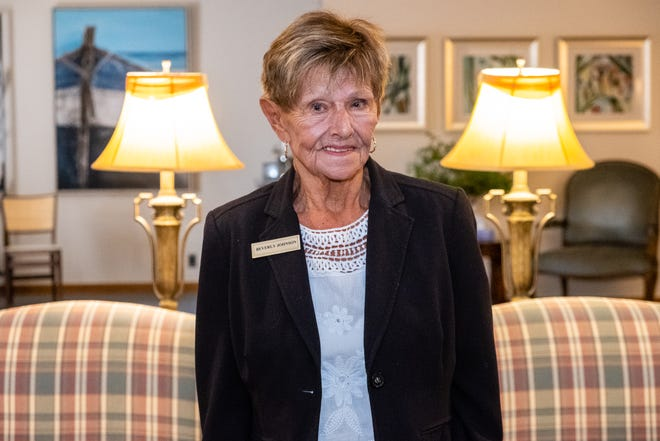 """Beverly """"Bev"""" Johnson, an employee at Karrer-Simpson Funeral Home, on Tuesday, Aug. 18, 2020, at the funeral home. After holding down a number of different jobs over the years, Johnson, who is now 85, is retiring this month."""