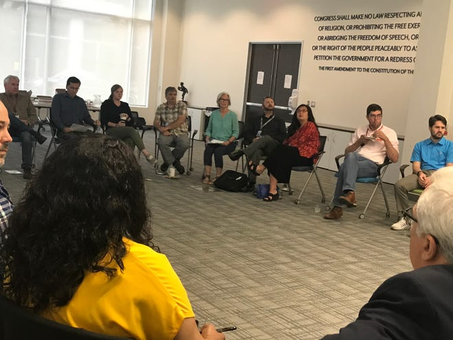 An image from a Democrat and Chronicle news staff meeting conducted in September 2019.
