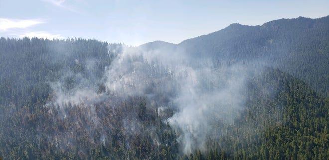 The Beachie Creek Fire is burning on a high ridgeline in the Opal Creek Wilderness.