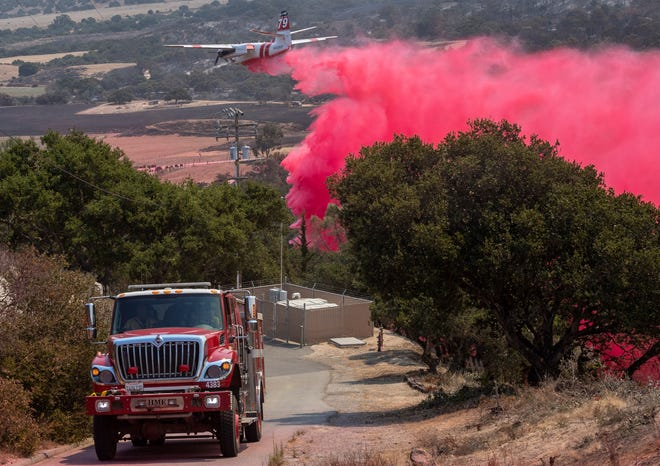 The River Fire has destroyed 4,070 acres and threatened 1,527 structures south of Salinas, Calif., on Aug. 17, 2020. As of Tuesday morning the fire remains at a 10% containment, and six structures have been destroyed. Cal Fire reports that they expect full containment by Aug. 30. Over 500 firefighters continue to fight the fire, four have suffered heat exhaustion.