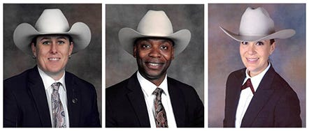 Texas Rangers Wende Wakeman, James Thomas and Melba Saenz have been promoted to the first women captains and the first captain with a doctorate degree in modern history.