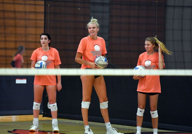 Sydni Schetnan practices with the Washington volleyball team on Tuesday, August 18, at Washington High School in Sioux Falls.