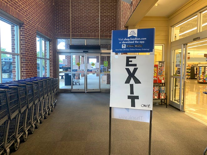 Reporter Laura Peters checked the Fishersville Food Lion Tuesday afternoon for mask and social distancing compliance. The store had a separate entrance and exit.