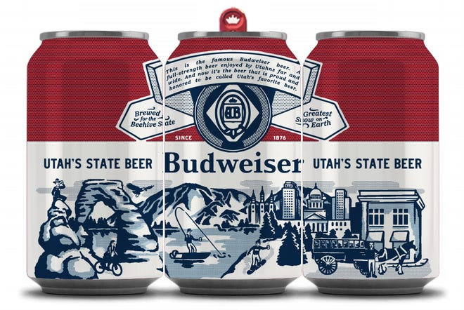 A look at Utah's Budweiser can as Budweiser has launched a campaign to become Utah's state beer and the first and only state to have its own Budweiser can.