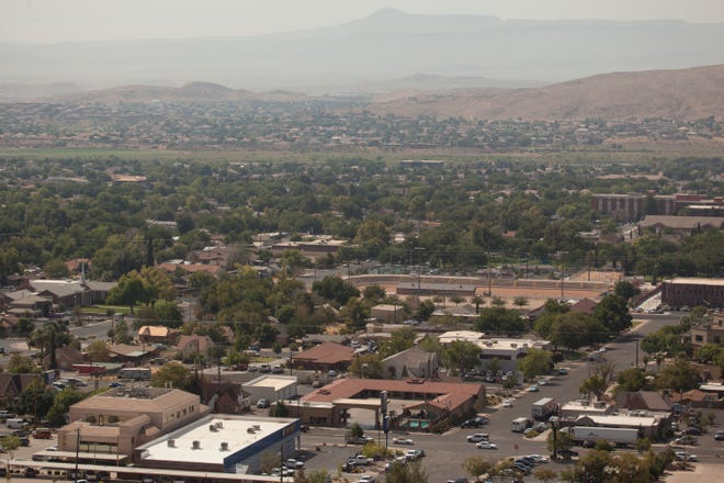 Diminished air quality visible over St. George Tuesday, Aug. 18, 2020.