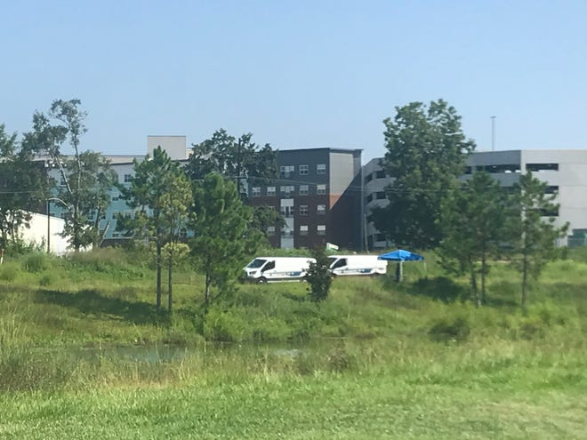 Tallahassee Police investigate the death of a person whose body was found in a pond behind Railroad Square Tuesday morning.