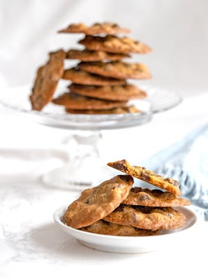 Thin and crispy cookies are loaded with chocolate chips.