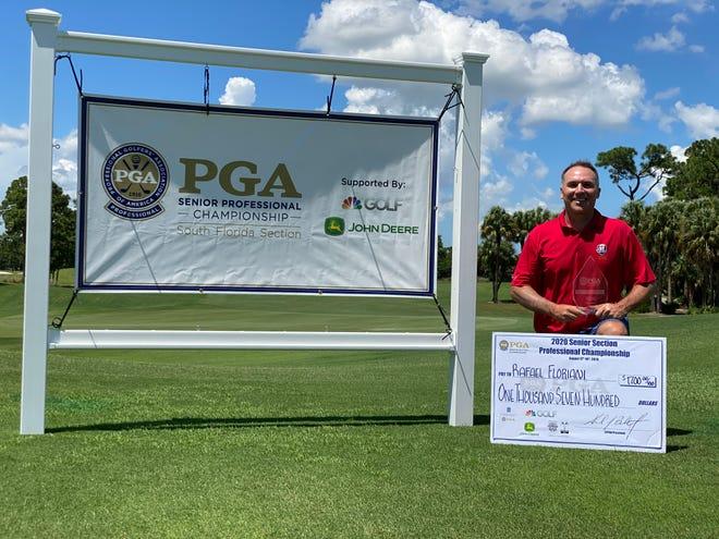 Rafael Floriani celebrates winning the South Florida PGA Senior PGA Professional Championship on Tuesday, Aug. 18, 2020, at PGA Golf Club.