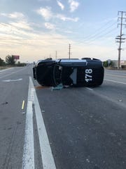 A Ventura County Sheriff's deputy suffered minor injuries early Tuesday morning after his vehicle was rammed and flipped by the driver of another SUV.