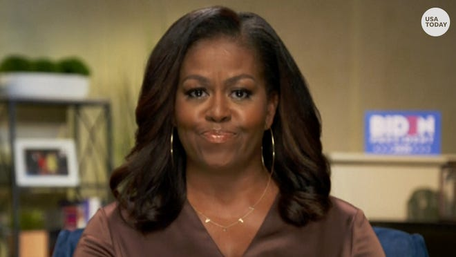 """Michelle Obama called President Donald Trump the """"wrong president for our country"""" during her speech at the Democratic National Convention."""