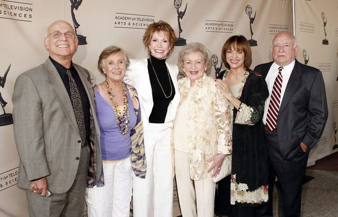 Gavin MacLeod, Cloris Leachman, Mary Tyler Moore, Betty White, Valerie Harper and Asner pose at the Academy of Television Arts and Sciences celebrating White's 60 years on television at the Leonard Goldenson Theatre on Aug. 7, 2008.