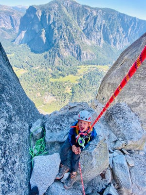 Sam Baker, 6, recently became one of the youngest people ever to climb the 2700-foot Lost Arrow Spire in Yosemite. [COURTESY OF JOE BAKER]