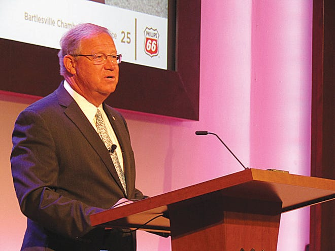 Phillips 66 Chief Executive Officer Greg Garland discusses the company's operations and response to COVID-19 Tuesday at a Bartlesville Chamber of Commerce event.