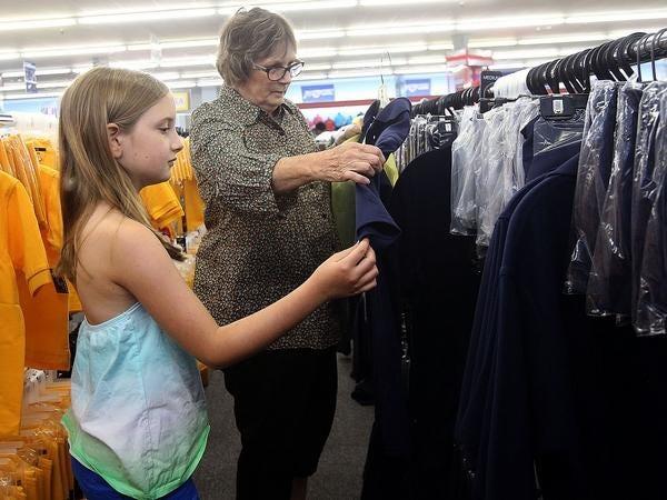 Locals shop for school uniforms in Thibodaux.