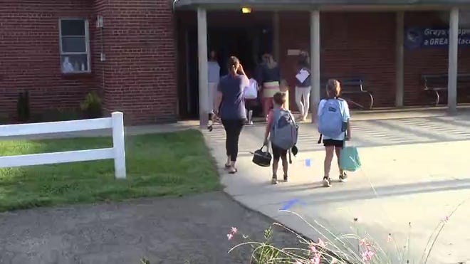 Grays Chapel Elementary students enter the campus for the first day of students returning to school on Aug. 17. Grays Chapel dealt with a COVID-19 issue after the Labor Day weekend according to RCSS.