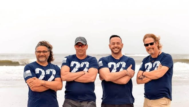 "Military veterans Paul Lore (from left), Billy Cimino, Cameron Hansen and A. M. ""Hupp"" Huppmann plan to participate in a 3,000-mile benefit row across the Atlantic. Their goal is to raise awareness of the average 22 veterans who die by suicide every day and raise money for nonprofits that help struggling veterans. [Provided by Team Foar from Home]"