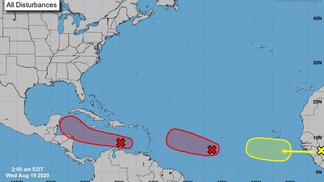 The National Hurricane Center is watching Invests 97L and 98L, both of which have high chances of development and are expected to become tropical depressions this week. [NOAA]