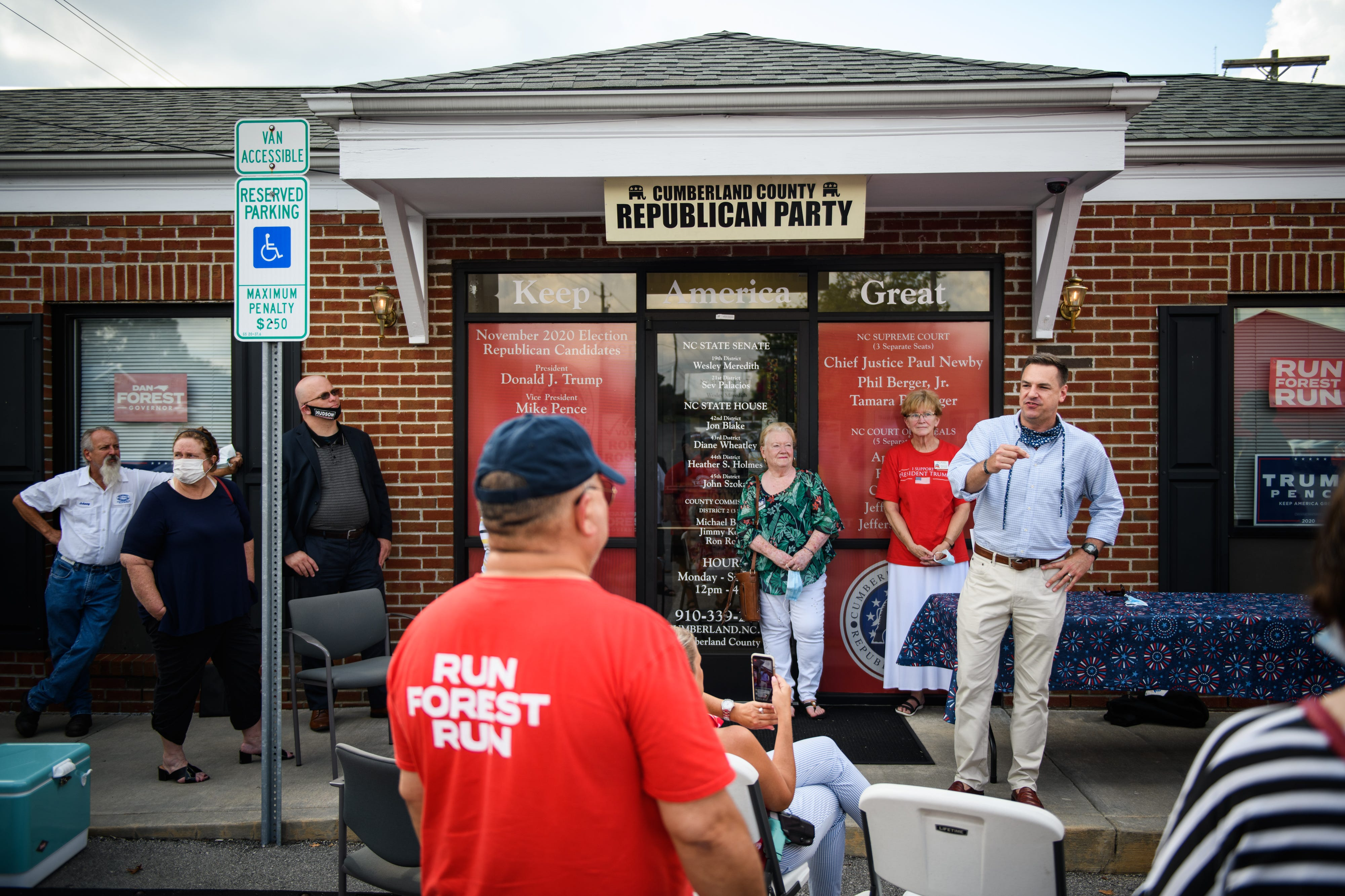 U.S. Rep. Richard Hudson speaks at the Cumberland County Republican Party headquarters on Wednesday, Aug. 19, 2020. He told supporters that victory in Cumberland County and the 8th District is critical for President Donald Trump to win North Carolina and a secon term.