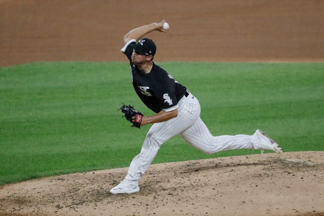 Chicago White Sox pitcher Dane Dunning throws during the sixth inning of an exhibition game against the Milwaukee Brewers at Guaranteed Rate Field in Chicago on July 22.