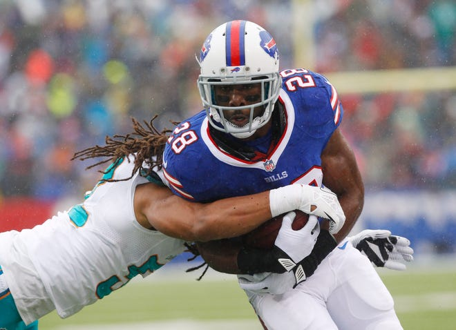 Buffalo Bills running back C.J. Spiller is hit by Miami outside linebacker Philip Wheeler in the Dec. 22, 2013 game in Orchard Park, N.Y.