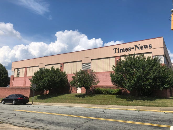 An image of the Times-News building in downtown Burlington.