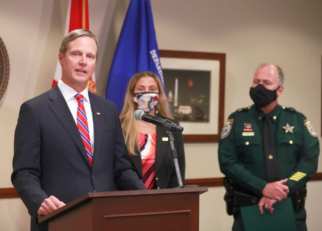 U.S. Attorney Larry Keefe speaks to media on Aug. 19 at the Panama City Branch Office. Lynn Haven Mayor Margo Anderson and Lynn Haven City Attorney Joseph Adam Albritton are the subjects of a 64-count indictment.