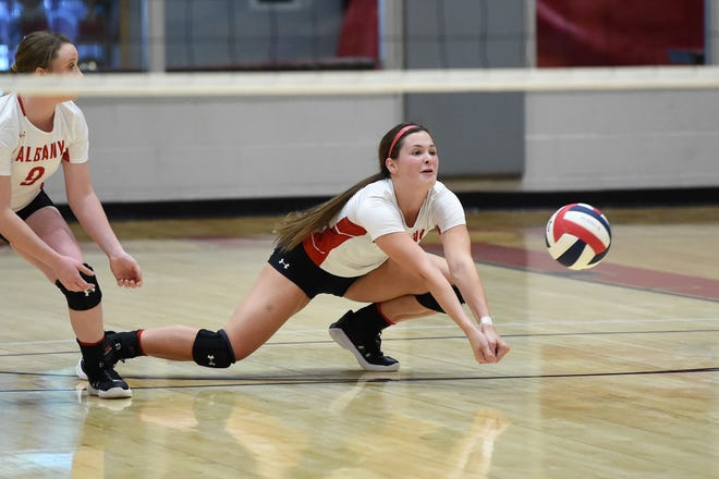 Jim Ned's Alli Hill (2) dives for the ball against Jim Ned on Aug. 18 in Tuscola.