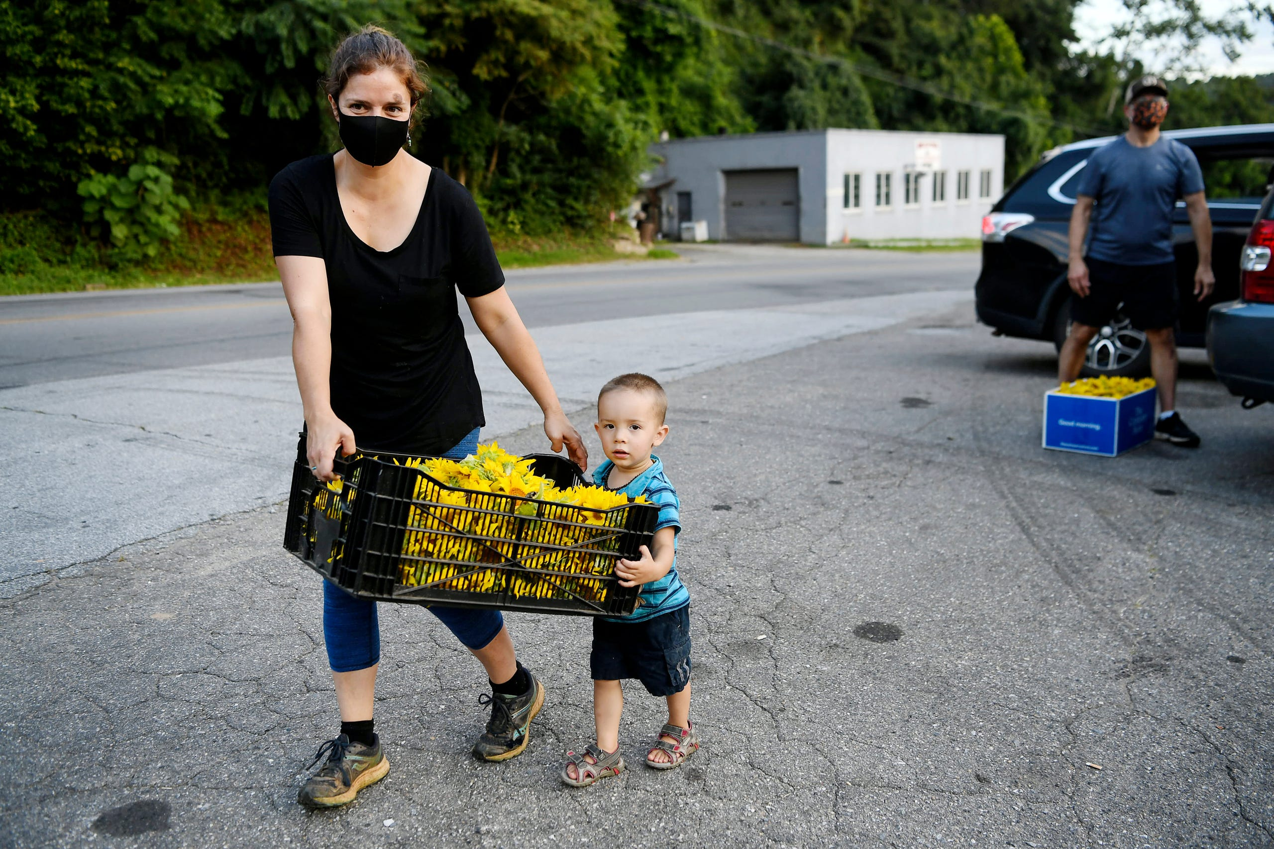 """Arica Haro carries a load of sunflowers with help from her two-year-old son, Forest, as residents of the Olivette community spread cheer across the Craggy Bridge in Woodfin August 19, 2020. """"It's been quite the year,"""" said Banzer, """"so this is exciting, to spread a little happiness and to have the opportunity to get a smile."""""""