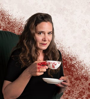 """A promotional photo for the Know Theatre's production of Megan Gogerty's """"Feast,"""" starring Jennifer Joplin as Grendel's Mother, a character in """"Beowulf,"""" a millennium-old epic poem from Old English."""