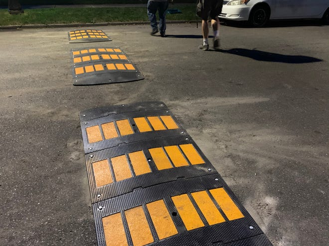 Pictured are the speed humps that have since been removed in the Greenacres Woodward neighborhood.