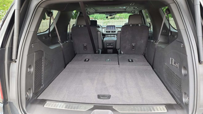 Flatten the seats, and the cargo area of the 2021 Chevy Suburban will swallow a small grocery store.