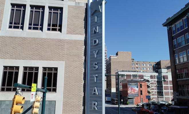 A view of the IndyStar sign at Meridian and Georgia streets in downtown Indianaplis.