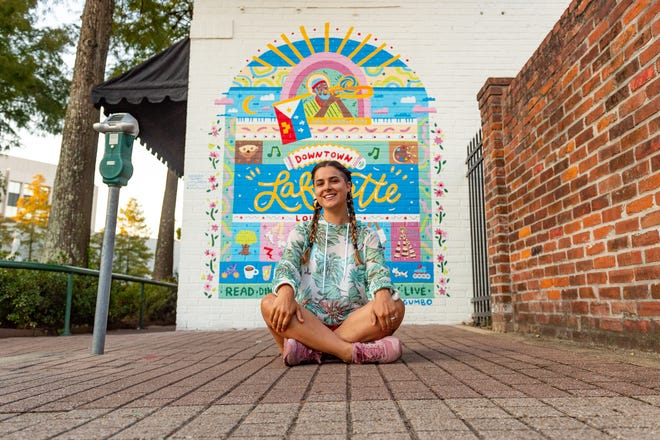 Artist Hannah Gumbo draws inspiration for her latest mural from the culture and livelihood found in Downtown Lafayette, LA.   Wednesday, Aug. 19, 2020.