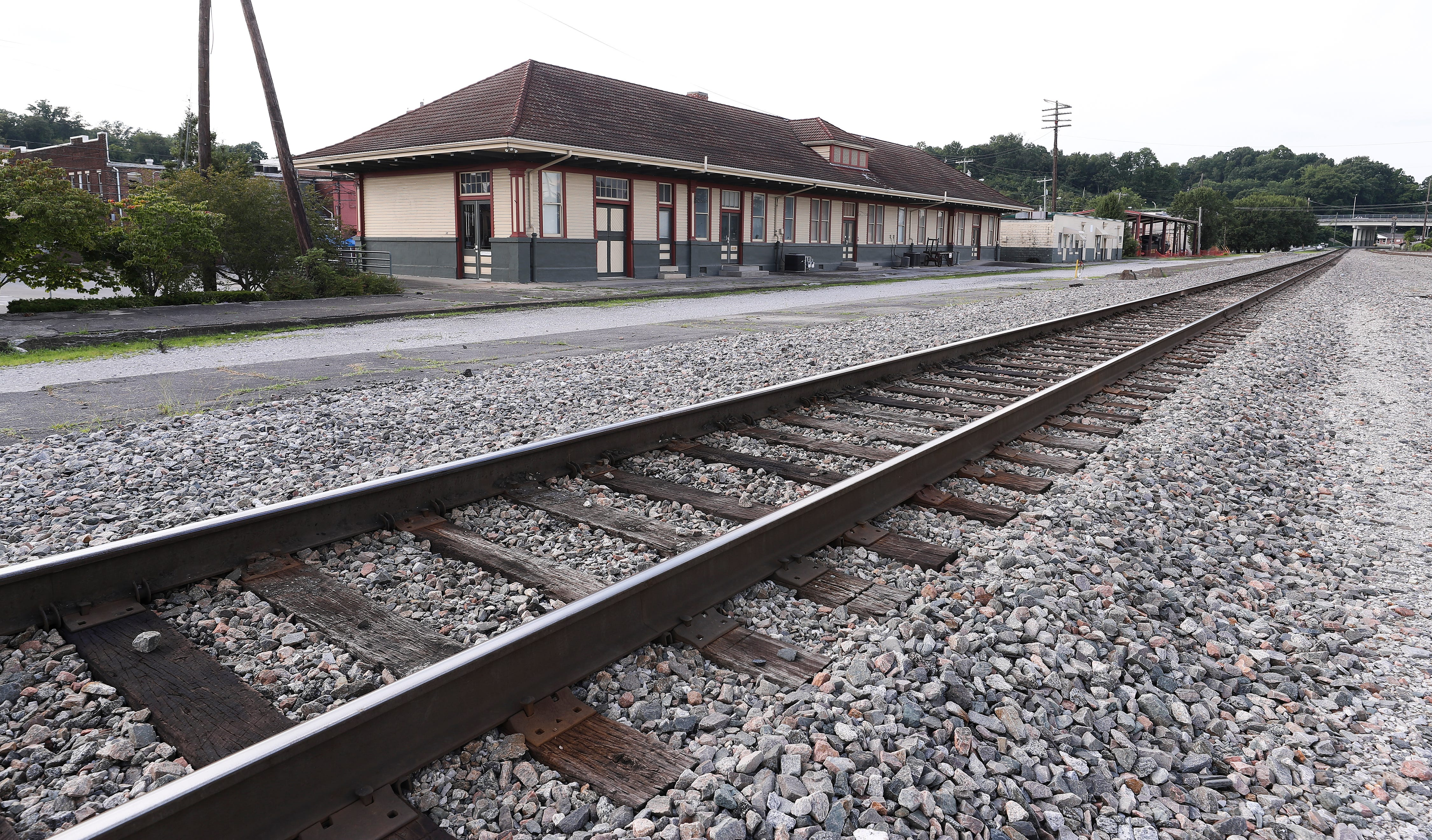 """A historical train depot is located in downtown Corbin, Ky. on Aug. 13, 2020.  Corbin is a former """"sundown"""" town where Black residents were forced out at gunpoint a century ago."""