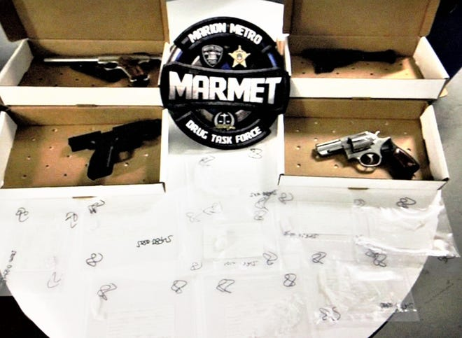 Agents from the MARMET Drug Task Force displayed evidence seized during a raid conducted this week. According to Lt. Chris Adkins, agents arrested one man and discovered 9.2 grams of crack cocaine, 3 grams of suspected fentanyl, 4 firearms, and $5,100 in cash while executing a warrant on Tuesday, Aug. 18 at America's Best Value Inn, 1952 Marion-Mount Gilead Road, Marion.