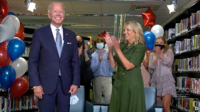 Former Vice President Joe Biden and Former Second Lady of the United States, Dr. Jill Biden react after Joe was nominated to be the Democratic candidate for President during the Democratic National Convention at the Wisconsin Center.