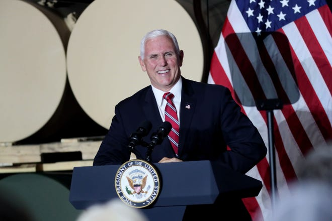 Vice President Mike Pence visits Tankcraft Corporation in Darien on Aug. 19, 2020.