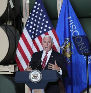 Vice President Mike Pence speaks to a crowd during his visit to Tankcraft Corp. of Darien, on Wednesday.